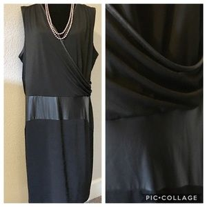 Ashley Stewart Sleeveless Wrap Dress Faux Leather
